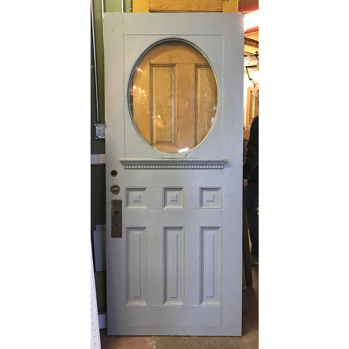 D17075 - Single Antique Oak Late Victorian Exterior Door with Oval ...