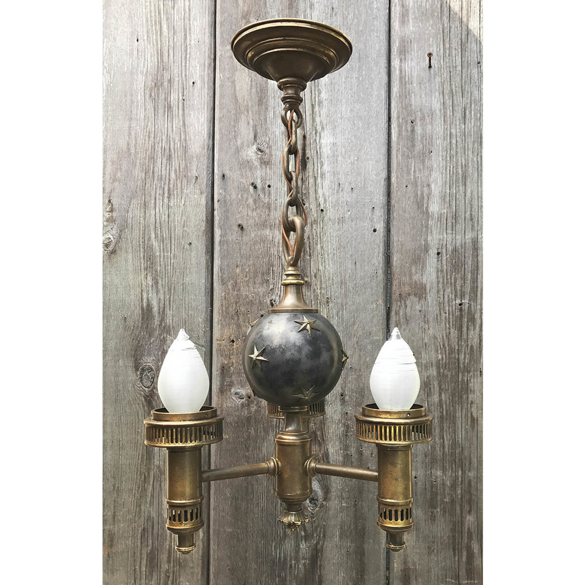 L17101 - Antique Three Arm Colonial Revival Style Fixture