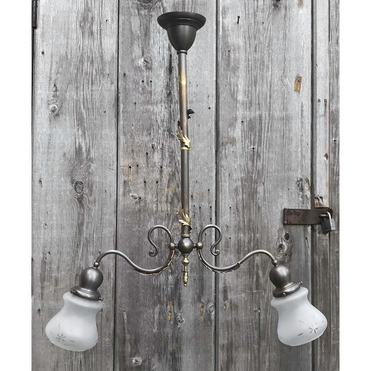 L17122 - Antique Colonial Revival Brass Two Light Hanging Fixture