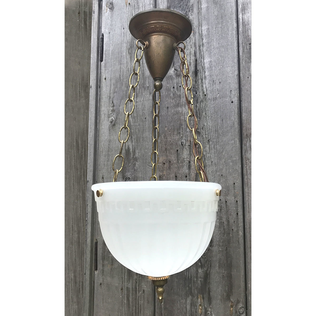 "L17150 - Antique Colonial Revival ""Brasco"" Three Chain Hanging Bowl Fixture"