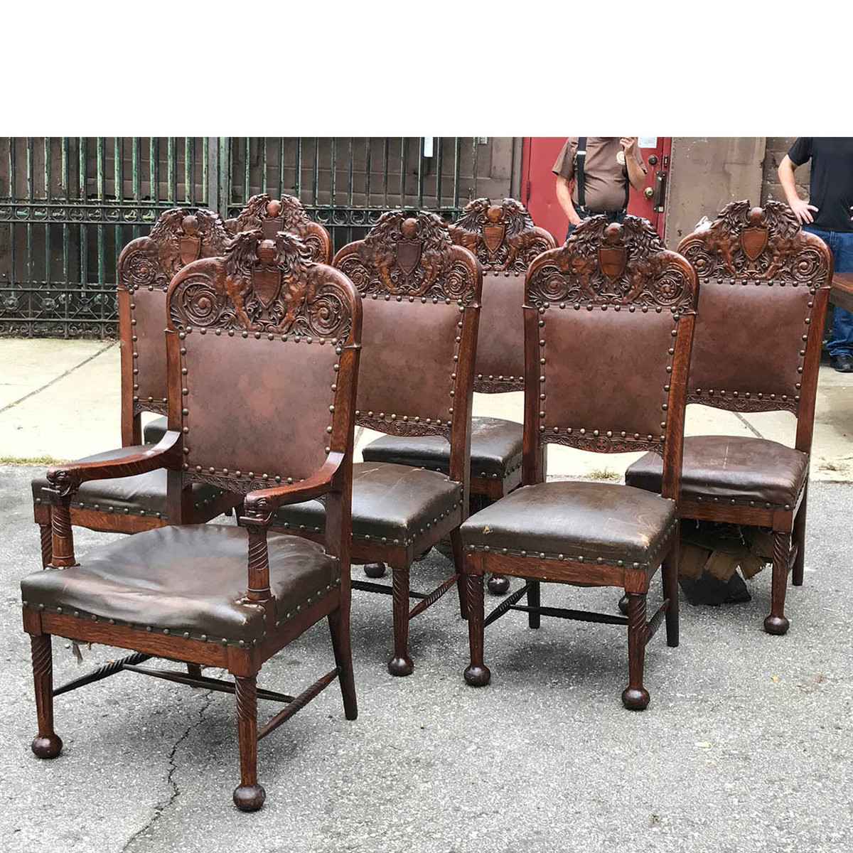 F17099 - Set of Seven Antique Carved Quartersawn Oak Dining Chairs