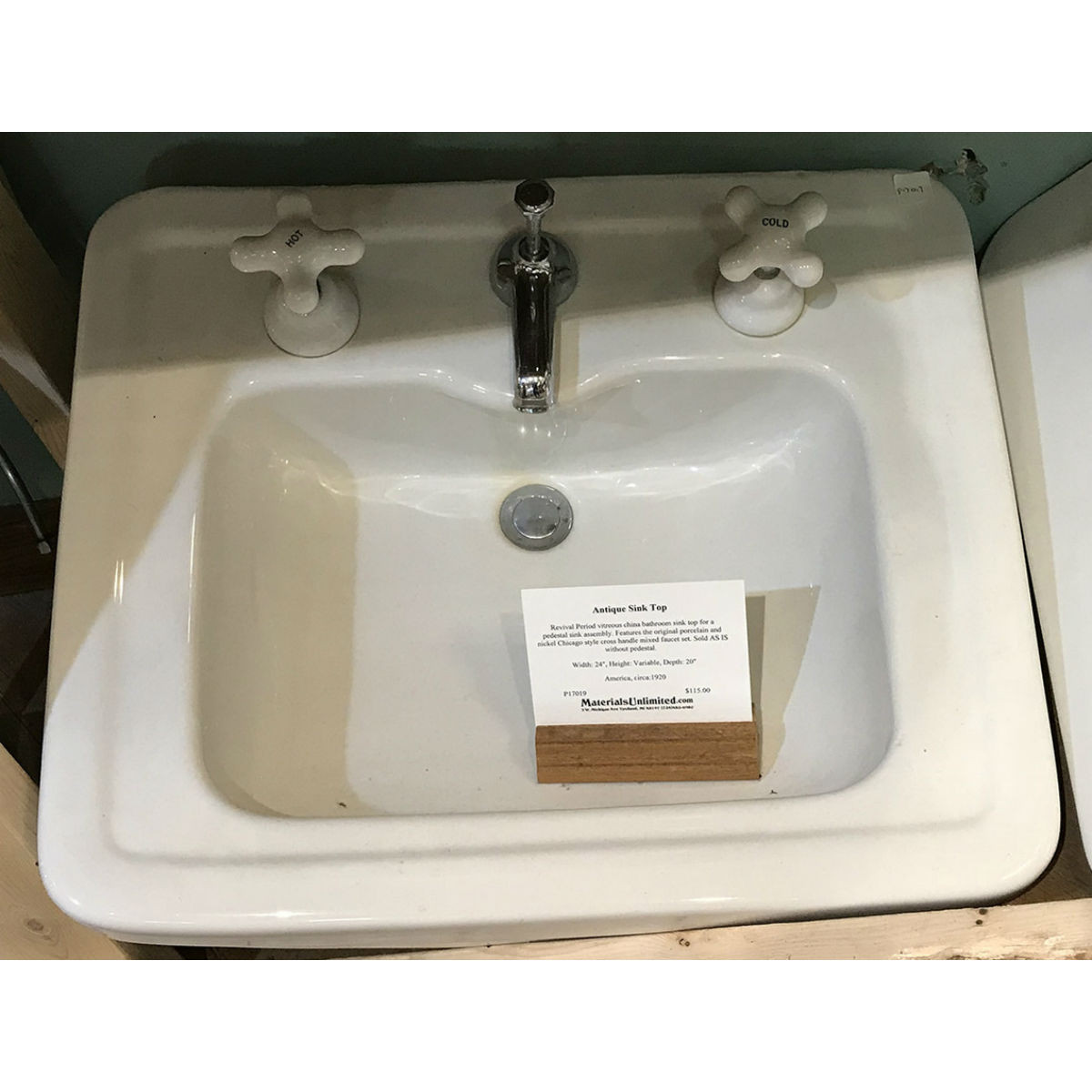 P17019 - Antique Revival Period Vitreous China Bathroom Sink
