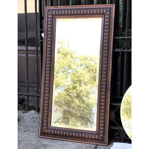 A17074 - Antique Beveled Glass Mirror In Oak Frame