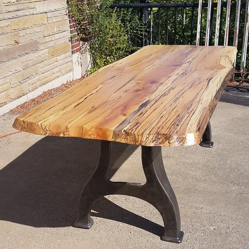 """F17103 - Custom """"Live Edge"""" Spalted Maple Dining Table with Iron Legs"""