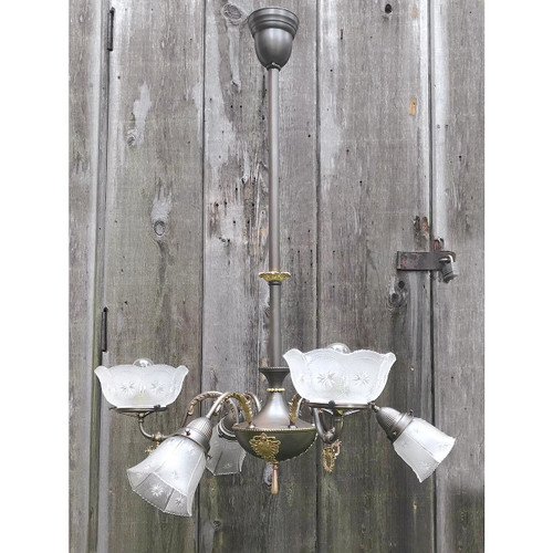 L17214 - Antique Colonial Revival Six Arm Hanging Fixture