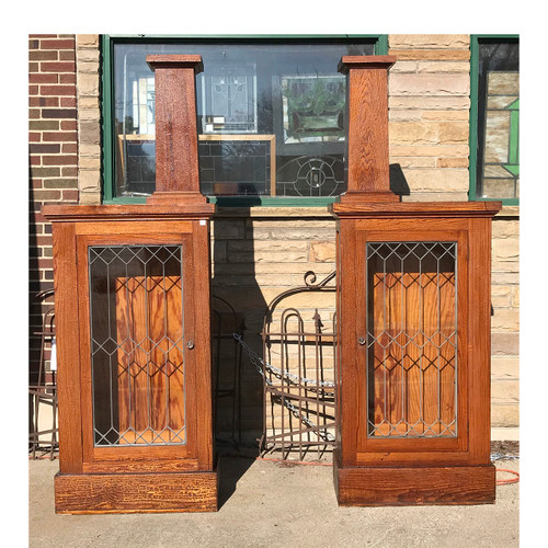 S17054 - Antique Arts and Crafts Pine Room Divider Column Set with Bookcases & Architectural Salvage - Door Archway \u0026 Window Trim - Materials ...