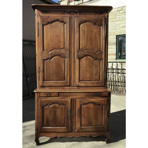 F17116   Antique French Provincial Walnut Cupboard