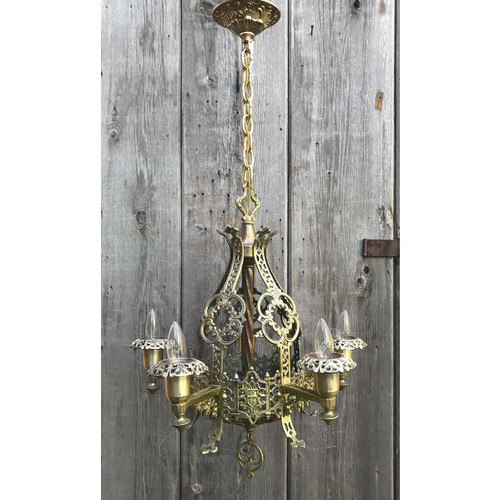 L17237 - Antique Tudor Revival Five Arm Bare  Bulb Hanging Fixture