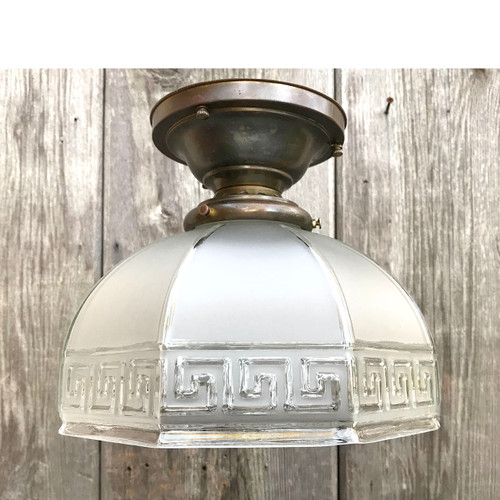 L17251 - Antique Arts and Crafts Flush Mount Fixture with Greek Key Design