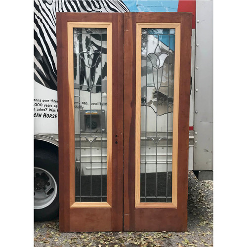 "D17176 - Pair of Antique Doors with Beveled Glass 47"" x 79"""