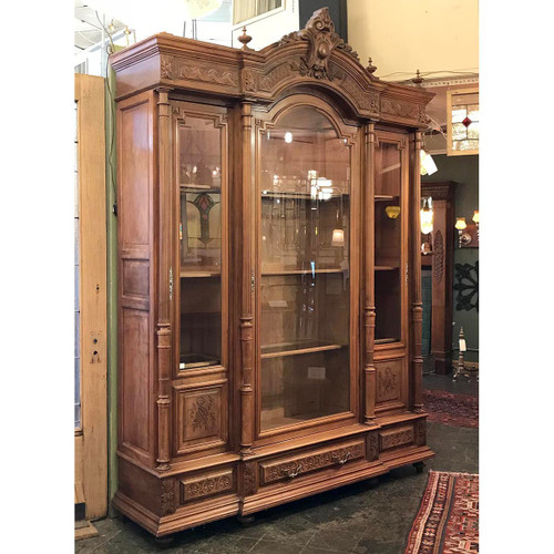 F17138 - Antique French Renaissance Revival Walnut Display Cabinet
