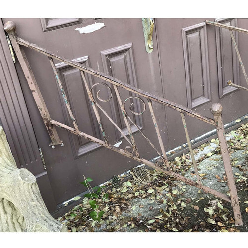 S17083   Vintage Wrought Iron Stair Rail