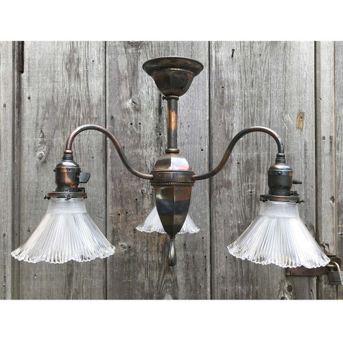 L17277 - Antique Colonial Revival Three Light Copper Flash Hanging Fixture