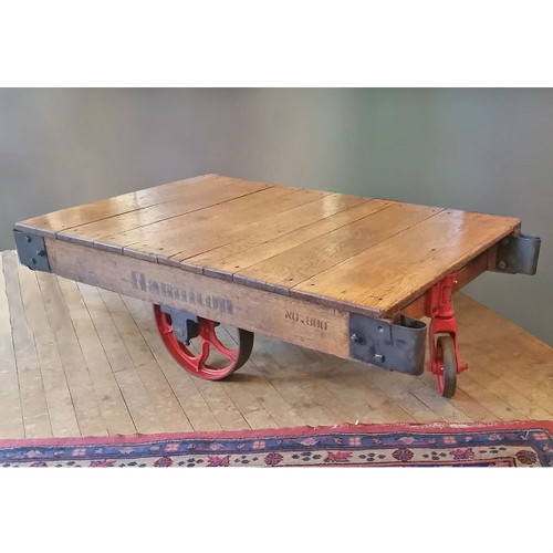 F17141 - Antique Industrial Wood and Cast Iron Cart
