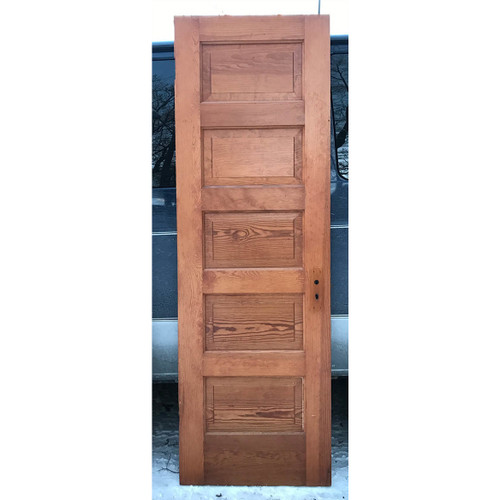 "D17187 - Antique Pine Interior Five Horizontal Panel Door 26"" x 80"""