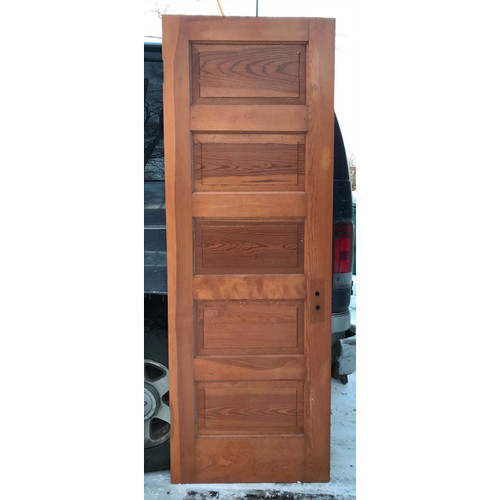 "D17189 - Antique Pine Interior Five Horizontal Panel Door 28"" x 80"""