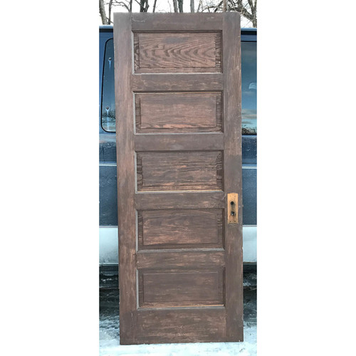 "D17193 - Antique Pine Interior Five Horizontal Panel Door 30"" x 79"""