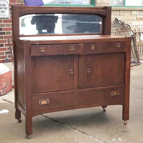 F17142 - Antique Arts and Crafts Quartersawn Oak Sideboard