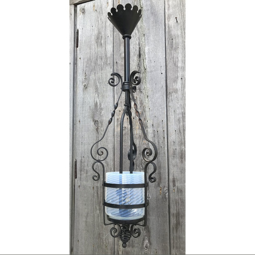 L17279 - Antique Victorian Wrought Iron Hanging Porch Lantern Fixture