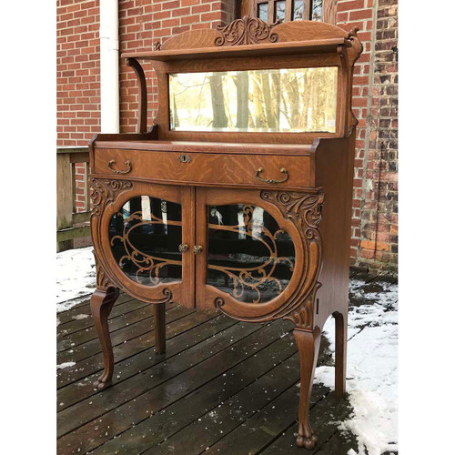 F17144 - Antique Late Victorian Quartersawn Oak Sideboard