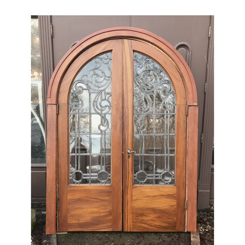 D17195 - Pair of Antique Beveled & Leaded Glass Arched-Topped Doors With  Jamb 56 - G18013 - Antique Cabinet Door With Leaded Glass