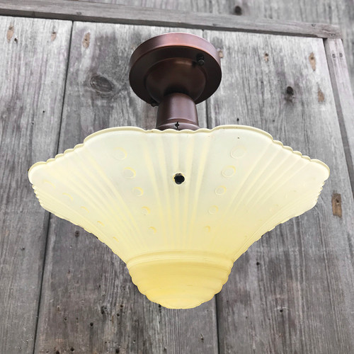 L18012 - Antique Art Moderne Ceiling Light Fixture with Bowl Shade