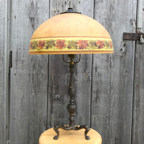 L18015 - Antique Colonial Revival Table Lamp with Reverse Painted Shade