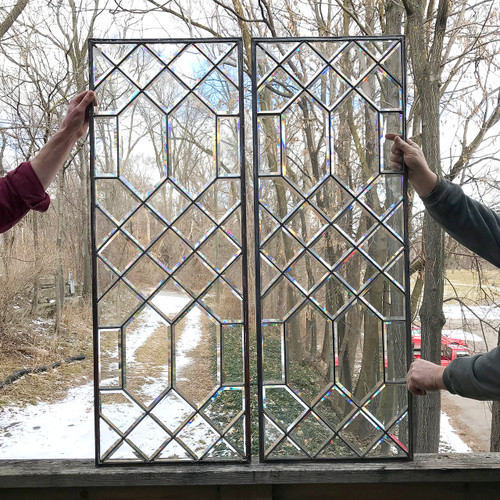 G18005 - Pair of Antique Revival Period Beveled Glass Windows
