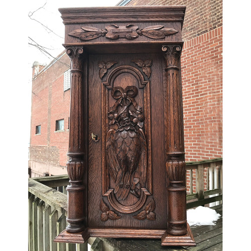 F18003 - Antique Renaissance Revival Oak Blind Cabinet