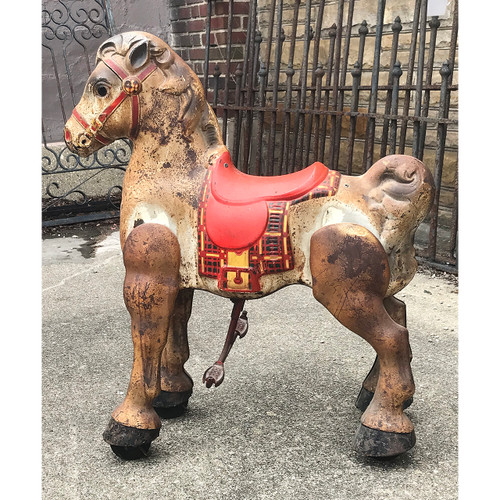 A18001 - Antique Painted Steel Children's Mechanical Trotting Horse