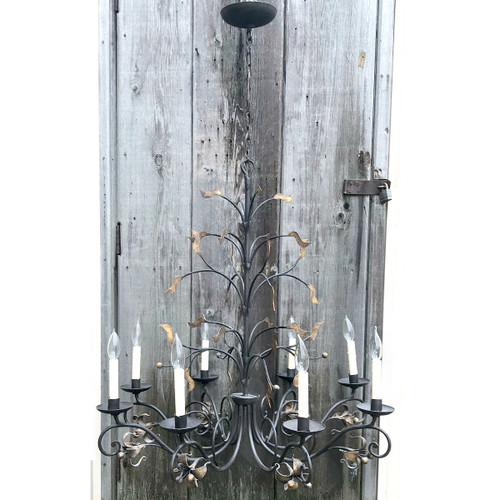 L18028 - Vintage Hand Wrought Iron Candle Fixture