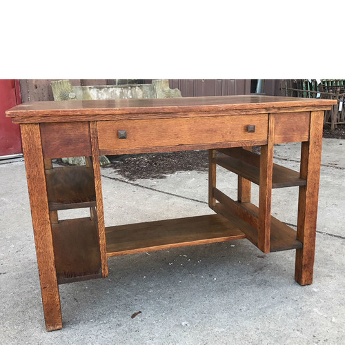 F18005 - Antique Arts & Crafts Quartersawn Oak Desk