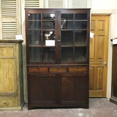 F18007 - Antique Walnut Cabinet - G18013 - Antique Cabinet Door With Leaded Glass