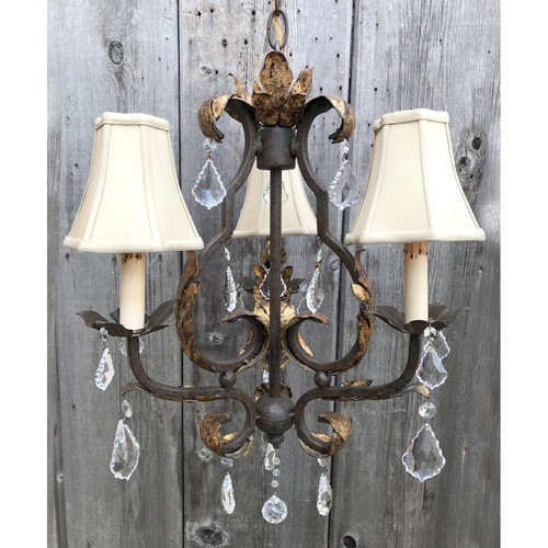 L18041 - Contemporary Wrought Iron Three Arm Hanging Candle Fixture