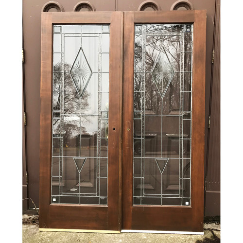 "D18024 - Pair of Full Light Leaded Glass Doors 60"" x 80"""
