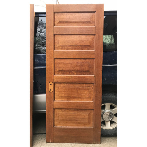 "D18025 - Antique Five Horizontal Panel Interior Door 31-3/4"" x 78-1/2"""