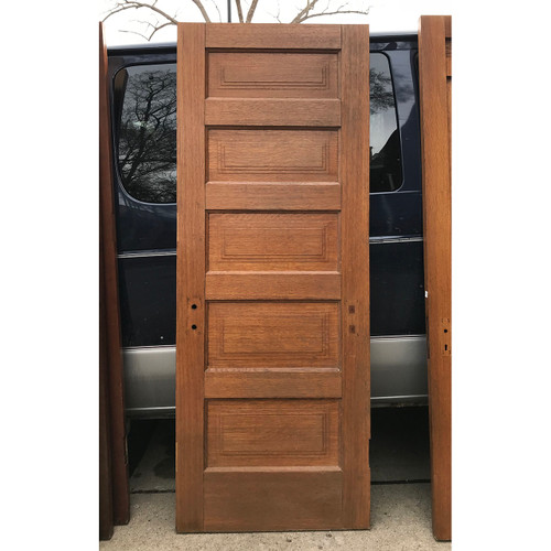 "D18029 - Antique Five Horizontal Panel Interior Door 29-3/4"" x 78-1/4"""