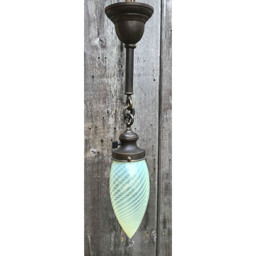 L18043 - Antique Brass  and Opal Swirl Glass Pendant Light Fixture