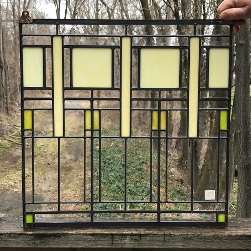 G18030 - Vintage Prairie Style Stained and Clear Glass Window