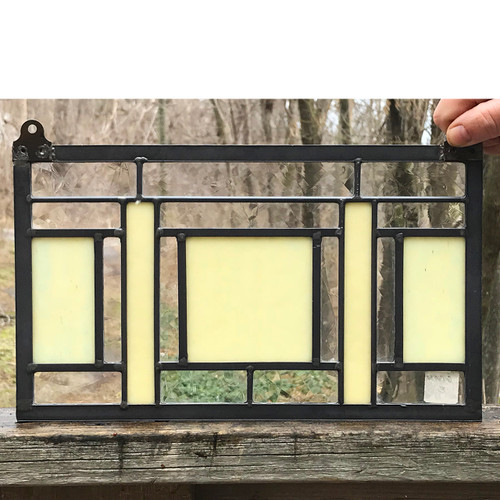 G18032 - Vintage Prairie Style Stained and Clear Glass Window