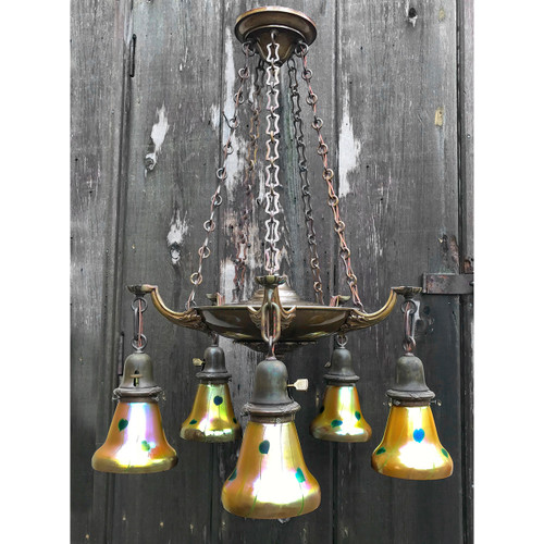 L18053 - Antique Colonial Revival Five Light Pan Fixture with Art Glass Shades