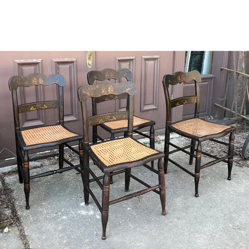 F18024   Antique Set Of Four Painted And Stenciled Cane Bottom Chairs