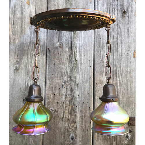 L18057 - Antique Colonial Revival Style Flush Mount Two Light Fixture