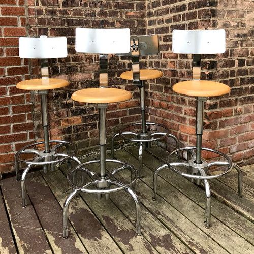 F18033 - Set of Four Vintage Chrome & Maple Stools