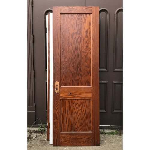 "D18062 - Antique Oak Traditional Two Flat Panel Interior Door 28"" x 83-1/4"""