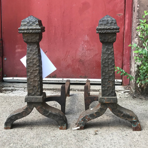 M18006 - Pair of Antique Arts and Crafts Cast Iron Andirons
