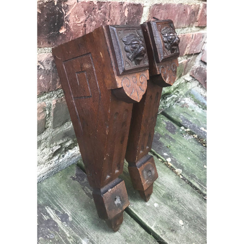 S18017 - Pair of Antique Renaissance Revival Walnut Brackets