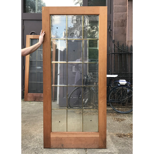 "D18081 - Vintage Pine and Beveled Glass Interior French Door 36"" x 80"""