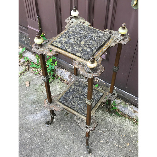 F18059 - Antique Colonial Revival Style Brass & Onyx Plant Stand