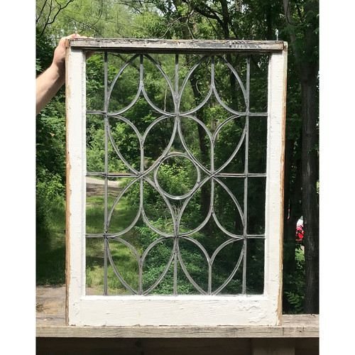 G18054 - Antique Colonial Revival Style Leaded Glass Window